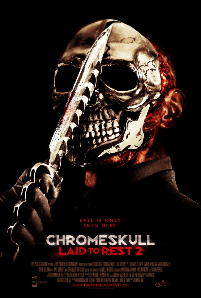chrome skull laid to rest poster