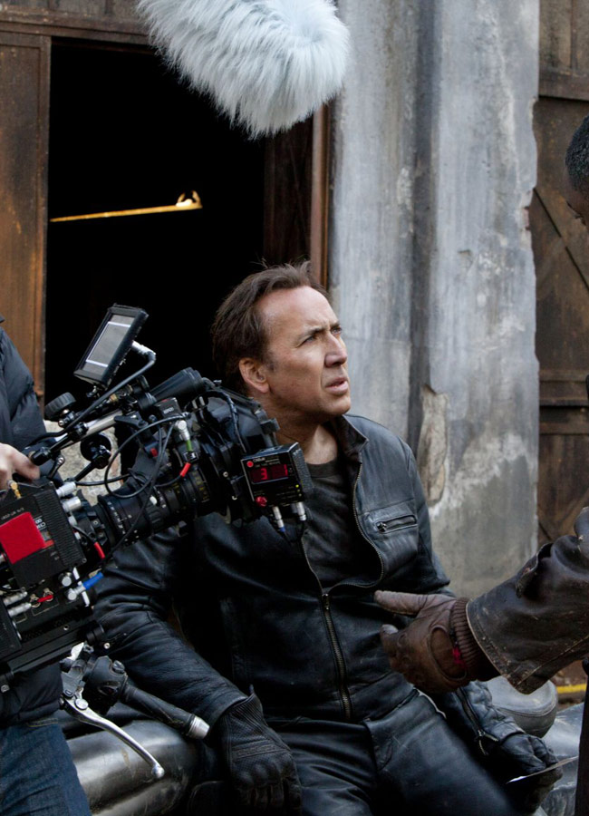 Nicolas Cage on Ghost Rider Set
