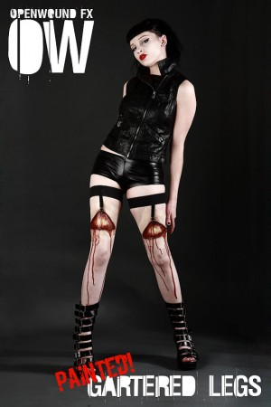 openwoundfx painted gartered blood stockings