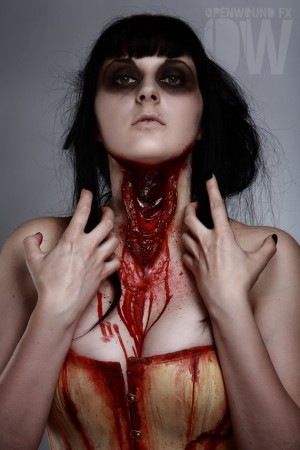 open wound fx slit neck prosthetic