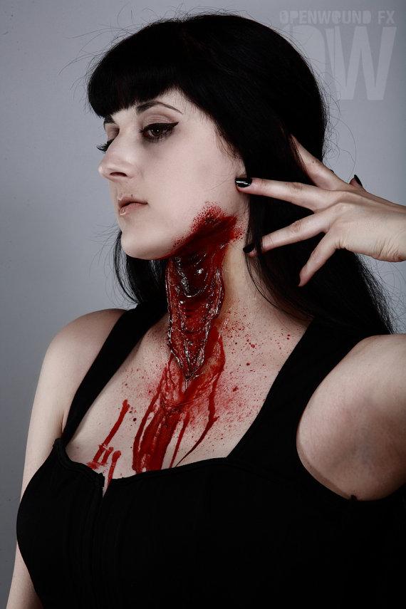 open wound fx slit neck prosthetic