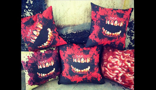 redcoversme bloody teeth pillows