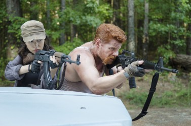 Christian Serratos as Rosita Espinosa and Michael Cudlitz as Abraham