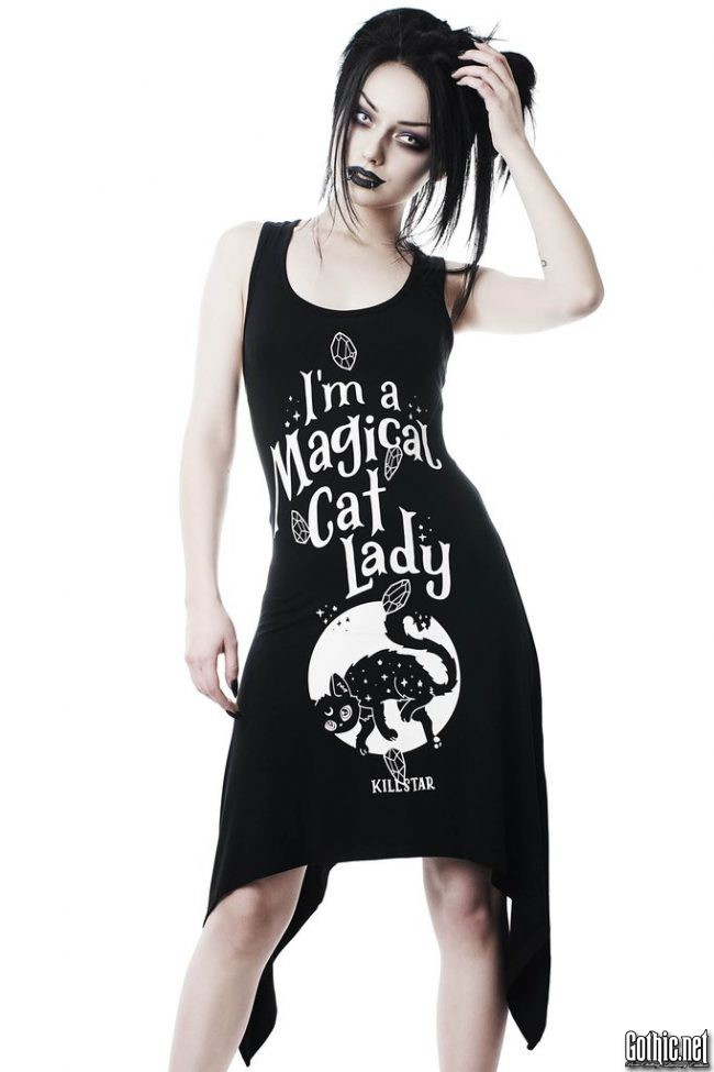 KillStar Black Cat Lace-Up Tunic